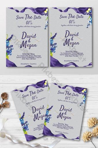 thiệp mời đám cưới thanh lịch dễ thương với vải lụa tím và trang trí hoa Bản mẫu PSD
