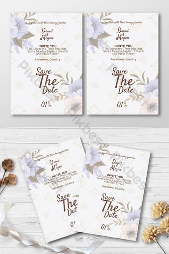 Plantilla de invitación de boda elegante simple con lindo adorno floral en fondo blanco Modelo PSD