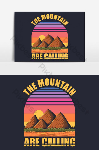 diseño de ilustración de vector retro de montaña Elementos graficos Modelo EPS