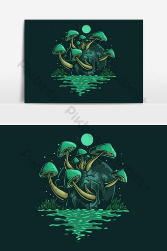 Diseño de ilustración de vector de hongo de cráneo Elementos graficos Modelo EPS