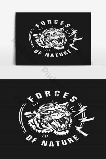 tigre, fuerza, de, el, naturaleza, ilustración, vector, gráfico Elementos graficos Modelo EPS