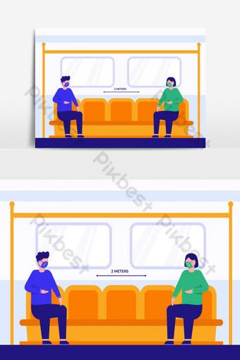vector de personas que usan máscaras en el metro. Elementos graficos Modelo AI
