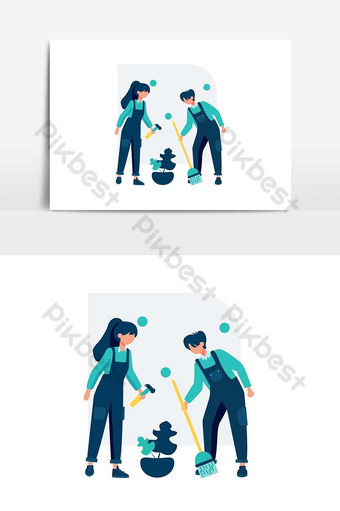Cleaning service clean and maintain the room vector illustration PNG Images Template AI