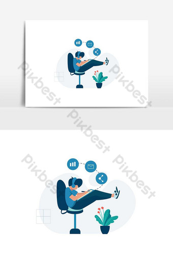 Freelancers work and discuss in coworking space vector illustration PNG Images Template AI