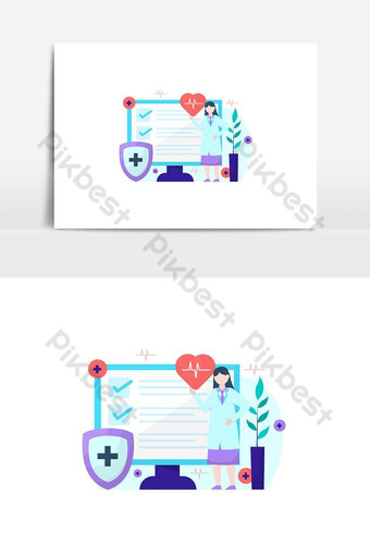 Vector illustration of explaining the importance health insurance and its service PNG Images Template AI