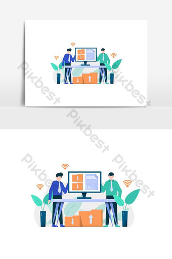 People enjoy cloud storage services not afraid of a damaged hard drive vector illustration PNG Images Template AI