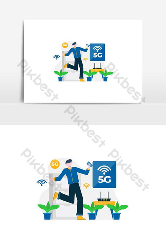 People enjoy 5g services for communication with cellphones computers vector illustration PNG Images Template AI