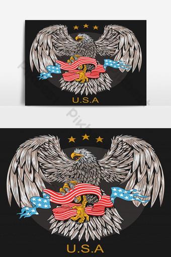 El águila sostiene una bandera estadounidense con una estrella sobre su cabeza. Elementos graficos Modelo EPS