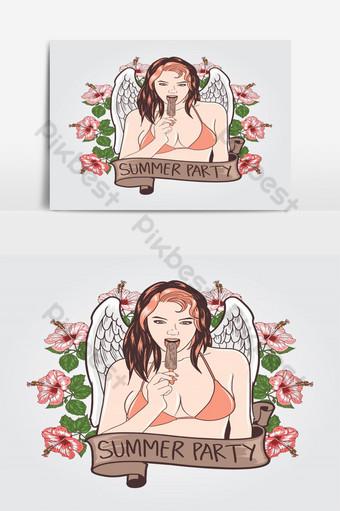 hermosa y sexy chica en bikini sosteniendo helado durante el verano Elementos graficos Modelo EPS