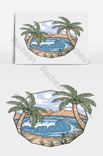 الشاطئ عندما الصيف مع موجات كبيرة وأشجار جوز الهند الجميلة ناقلات طبقات قابلة للتحرير صور PNG قالب EPS