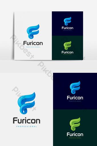 desain logo vektor huruf f berwarna-warni yang kreatif Elemen Grafis Templat EPS
