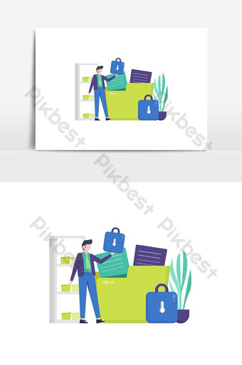 People enjoy important data and file security services on computers vector illustration PNG Images Template AI