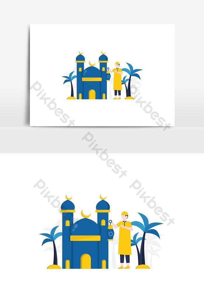 muslims do ramadan fasting and celebrate eid al-fitr vector illustration, for website