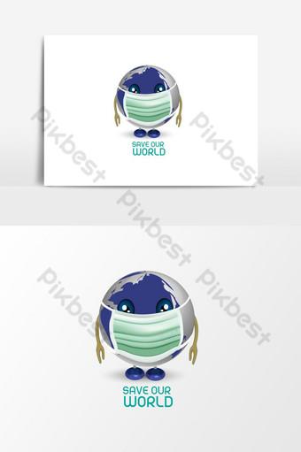 保存或與使用面具吉祥物的地球儀的世界 元素 模板 AI