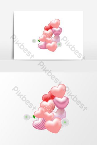 un montón de hermosos y románticos globos en forma de amor Elementos graficos Modelo PSD