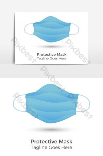 Máscara protectora médica sobre fondo blanco. Elementos graficos Modelo EPS