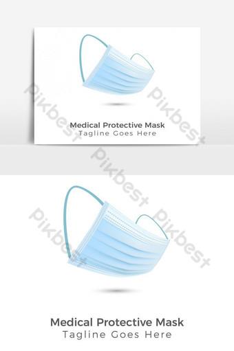 máscara protectora médica moderna con gancho para la oreja Elementos graficos Modelo EPS