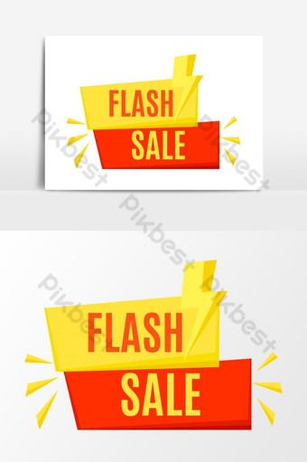 atractivo icono de venta flash vector retro naranja y amarillo para redes sociales Elementos graficos Modelo AI