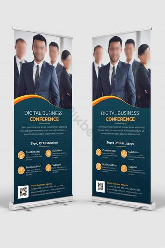 spanduk signage orang konferensi bisnis digital menggulung desain spanduk Templat AI