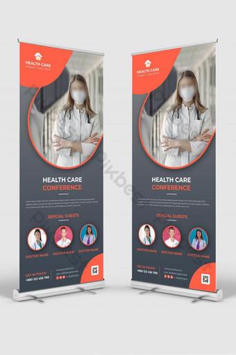 plantilla de diseño de banner enrollable de señalización de enfermera médica Modelo PSD