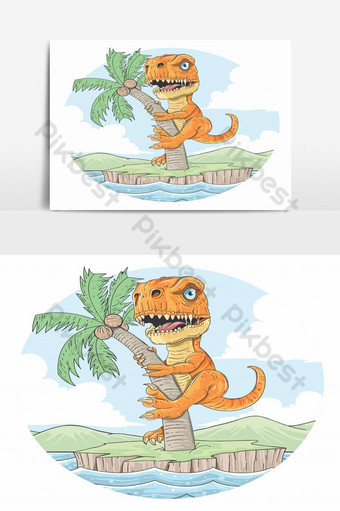 t-rex dinosaurs climbed a coconut tree on a small island between the seas PNG Images Template EPS