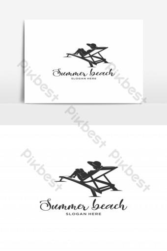 mujer, verano, playa, silueta, logotipo, vector Elementos graficos Modelo EPS