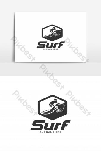 hombre surf emblema silueta vector logo Elementos graficos Modelo EPS