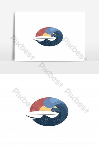 vector de logo de surf de playa puesta de sol vintage Elementos graficos Modelo EPS