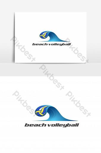 vector de logotipo abstracto de voleibol de playa Elementos graficos Modelo EPS