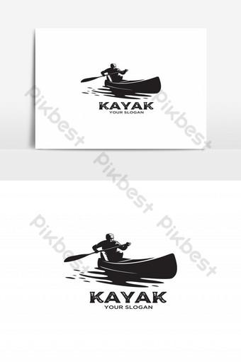 hombre, kayak, vendimia, silueta, logotipo, vector Elementos graficos Modelo EPS
