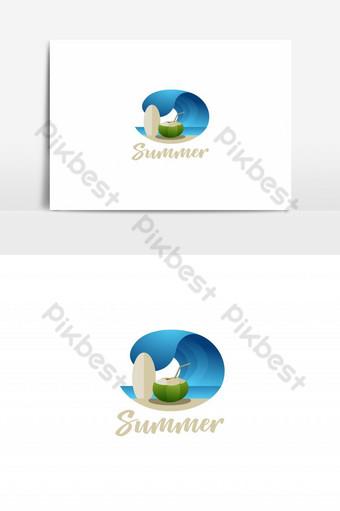 vector de tabla de surf de ola de logotipo de playa de verano Elementos graficos Modelo EPS