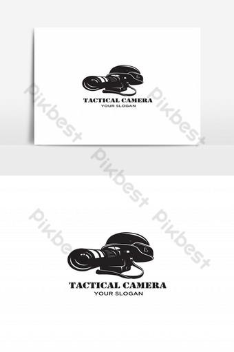 Fotografía táctica con cámara y logo de casco. Elementos graficos Modelo EPS
