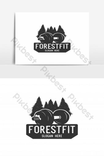 vector de logo de silueta de bosque de fitness Elementos graficos Modelo EPS