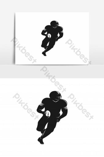 logo de silueta de jugador de fútbol americano Elementos graficos Modelo EPS