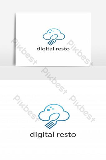 restaurante digital nube cuchara y tenedor logo vector Elementos graficos Modelo EPS