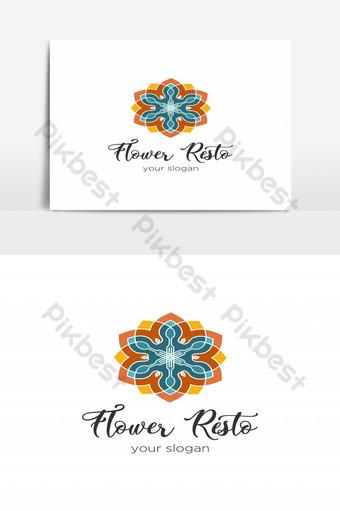 logotipo de restaurante de flores vector logo colorido caleidoscópico Elementos graficos Modelo EPS