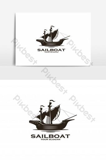 vector de logo de silueta de velero vintage Elementos graficos Modelo EPS