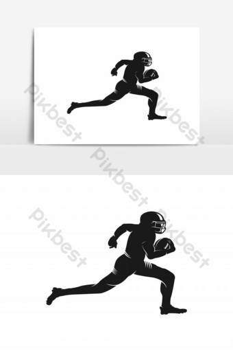 vector de logo de silueta de jugador de fútbol americano Elementos graficos Modelo EPS