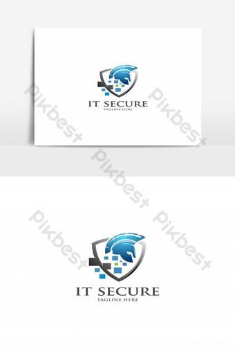es seguro logo con escudo guerrero máscara logo vector Elementos graficos Modelo EPS