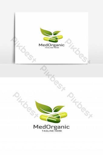 medicina orgánica con vector logo de hoja verde Elementos graficos Modelo EPS