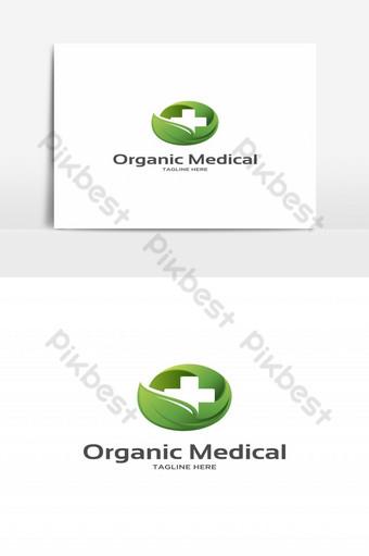 médico orgánico con hoja verde y logo cruzado Elementos graficos Modelo EPS