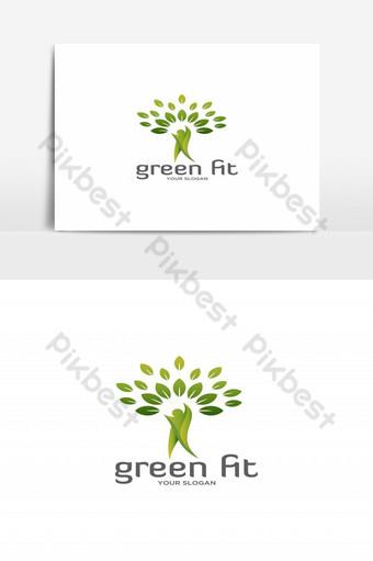 naturaleza humana verde en forma con vector logo de hoja Elementos graficos Modelo EPS