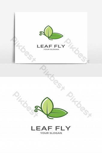 animal mariposa logo hoja verde volando vector logo plano Elementos graficos Modelo EPS