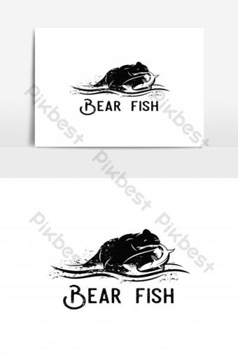 oso animal comer pescado salmón silueta logo Elementos graficos Modelo EPS