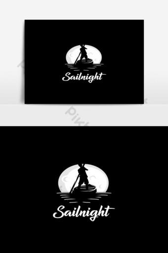 barco de vela noche silueta logo blanco y negro Elementos graficos Modelo EPS