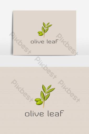 ilustraciones de logo de hoja verde oliva Elementos graficos Modelo EPS