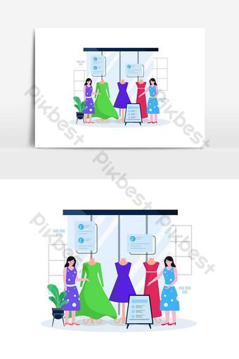 Ilustración de vector plano de una tienda de ropa y boutique con personas que se ocupan de comprar ropa Elementos graficos Modelo AI