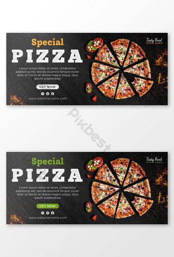banner web de pizza y plantilla de foto de portada Modelo PSD