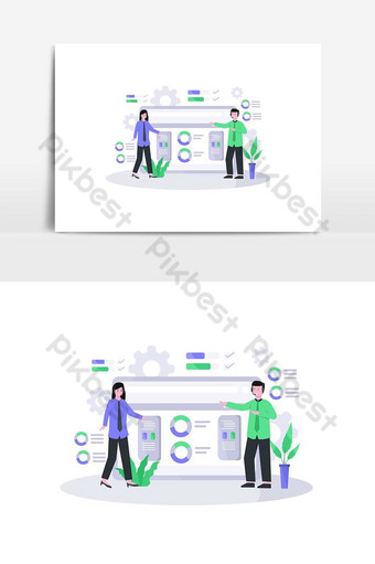 Flat vector illustration of customer service is serving customers well and friendly PNG Images Template AI