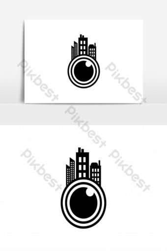Cámara de lente y diseños de logotipos de la ciudad inspiración aislada sobre fondo blanco Elementos graficos Modelo AI